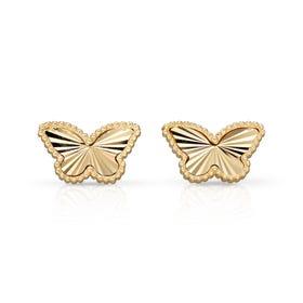 9ct Gold Diamond-Cut Butterfly Stud Earrings