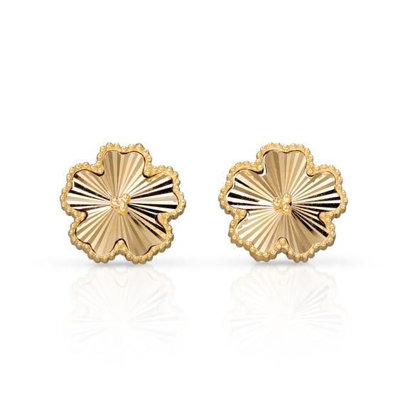 9ct Gold Diamond-Cut Flower Stud Earrings
