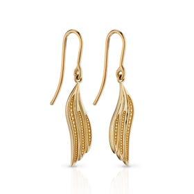 9ct Gold Wing Drop Earrings