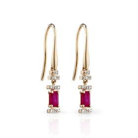 9ct Gold Ruby & Diamond Deco Baguette Earrings