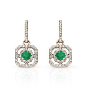 9ct Gold Emerald & Diamond Art Deco Earrings