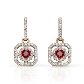 9ct Gold Ruby & Diamond Art Deco Earrings