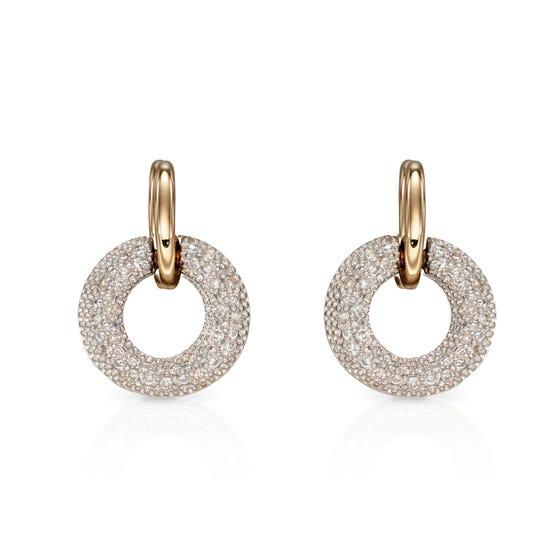 9ct Gold Diamond Donut Earrings