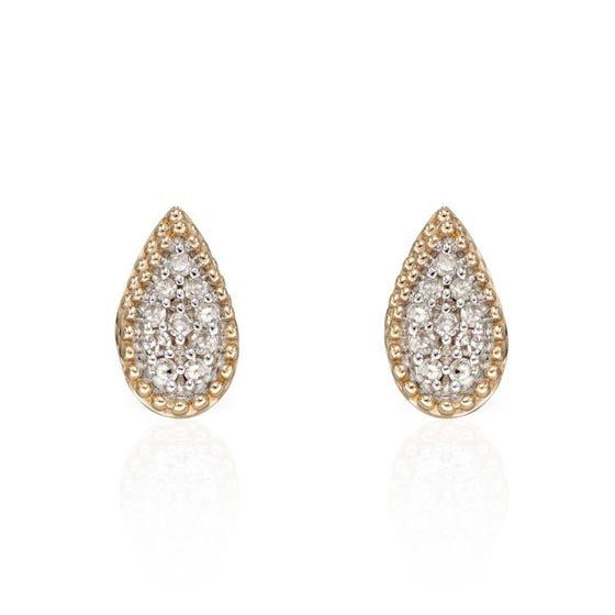 9ct Gold Diamond Teardrop Illusion Stud Earrings
