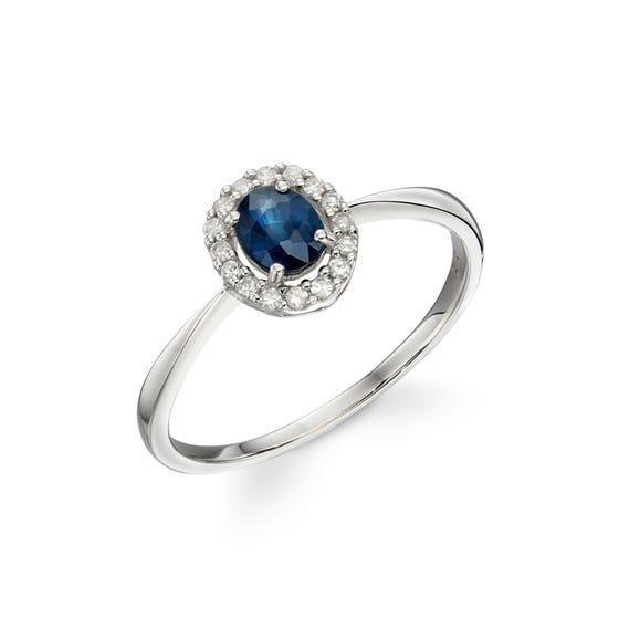9ct White Gold Sapphire & Diamond Cluster Ring