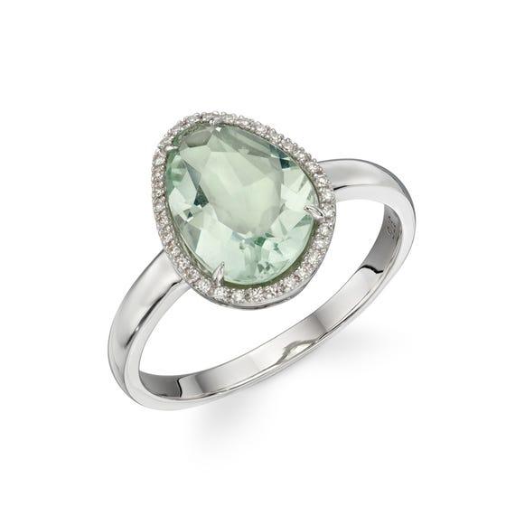 9ct White Gold Green Fluorite & Diamond Irregular Ring