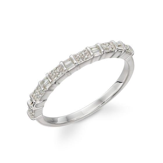 9ct White Gold Baguette Diamond Bar Ring