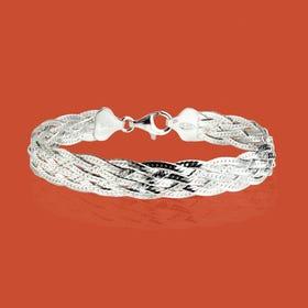 Sketch Silver Treccia Weave Bracelet