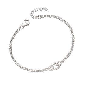 Stones Silver One Link Charm Bracelet