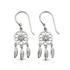 Symbols Silver & CZ Dream Catcher Drop Earrings