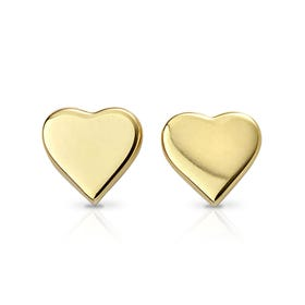 Symbols Gold Plated Silver Heart Stud Earrings