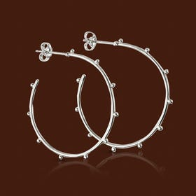 Series 1 Silver Studded Open Hoop Earrings