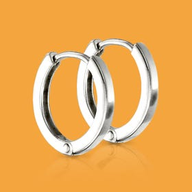 Series 1 Silver Flat Profile Huggie Hoop Earrings