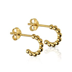 Savitri Gold Plated Silver Small Ball Open Hoop Earrings