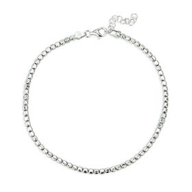 Christa Silver Tumbled Cube Anklet