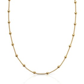 Savitri Gold Plated Silver Beaded Ball Chain Necklace