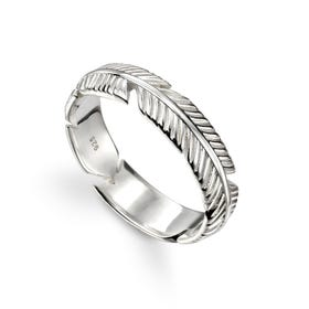 Symbols Silver Feather Band Ring