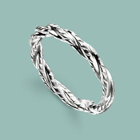 Sketch Silver Twisted Band Ring