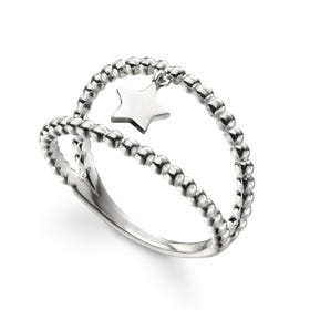 Celestial Silver Star Charm Double Band Ring