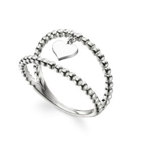 Symbols Silver Heart Charm Double Band Ring