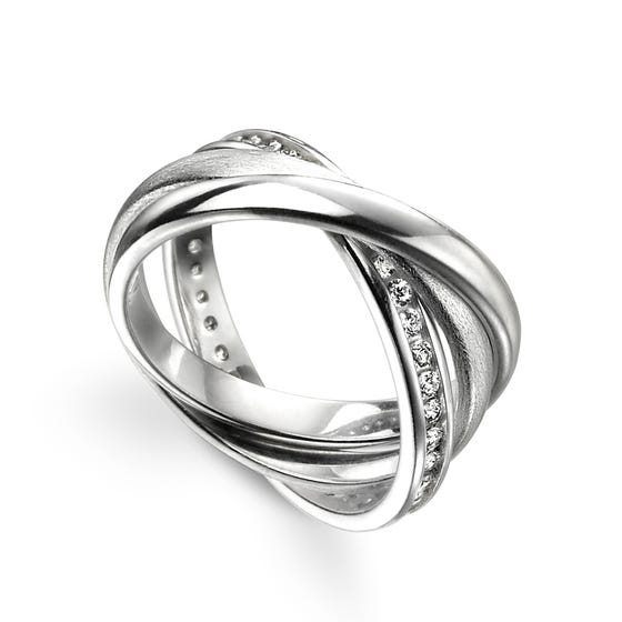 Hera Silver Polished Satin & Pave Russian Wedding Ring