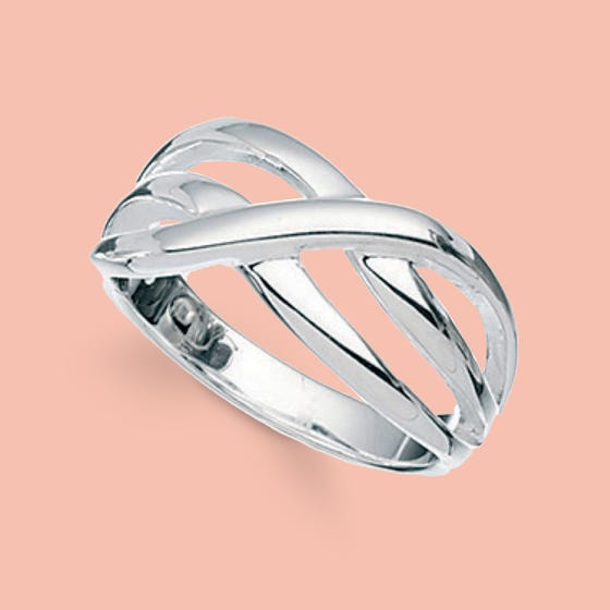 Sketch Silver Crossover Ring