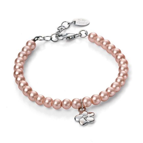 Children's Silver & Diamond Flower Charm Pearl Bracelet