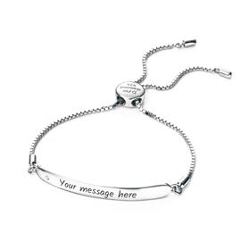 Children's Silver & Diamond ID Slider Bracelet
