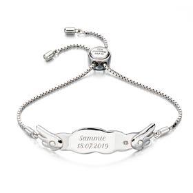 Children's Silver & Diamond Wing Slider Bracelet