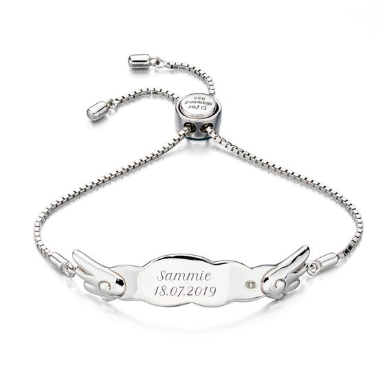 Children's Silver & Diamond Wing Slider Bracelet