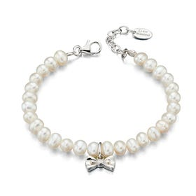 Children's Silver & Diamond Bow Charm Pearl Bracelet