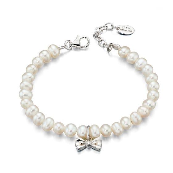 Children's Silver & Diamond Bow Charm Pearl Bracelet