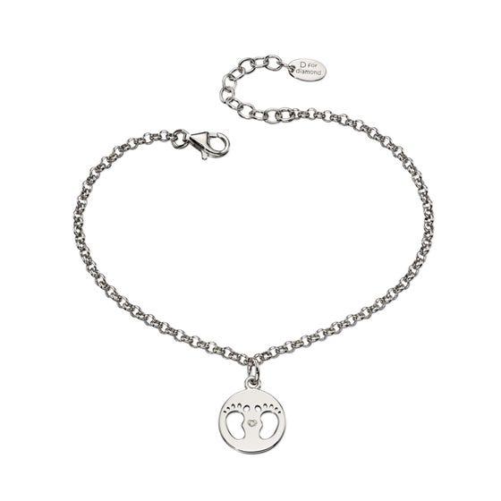 Silver & Diamond Footprint Bracelet