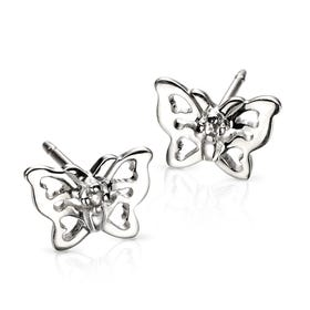 Children's Silver & Diamond Filigree Butterfly Stud Earrings