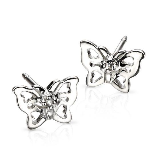 Children's Silver & Diamond Filigree Butterfly Stud Earrings