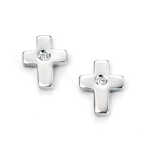 Children's Silver & Diamond Cross Stud Earrings