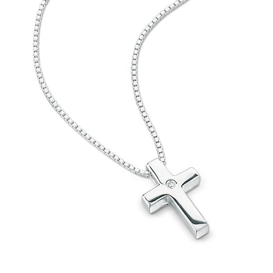Children's Silver & Diamond Cross Necklace