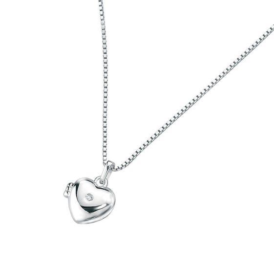 Children's Silver & Diamond Small Heart Locket Necklace