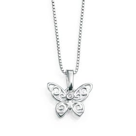 Children's Silver & Diamond Filigree Butterfly Necklace