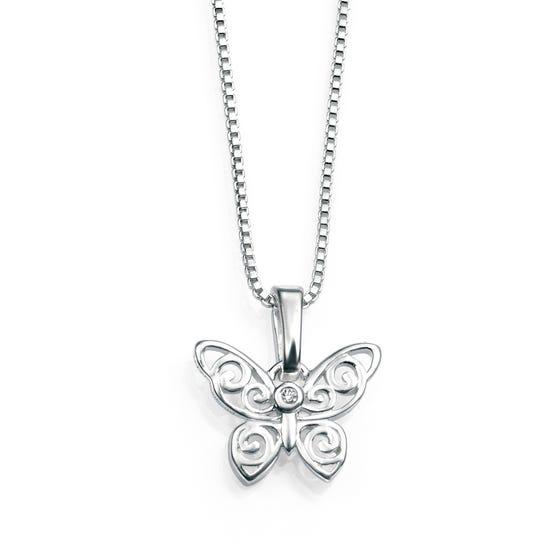 Children's Silver & Diamond Filigree Butterfly Necklace