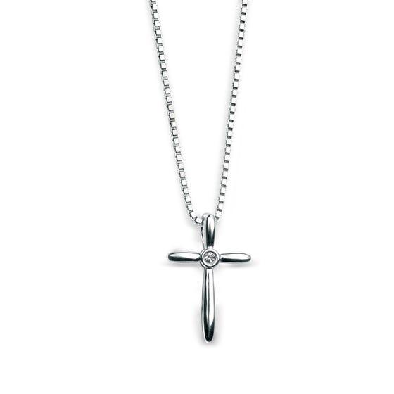 Children's Silver & Diamond Slim Cross Necklace