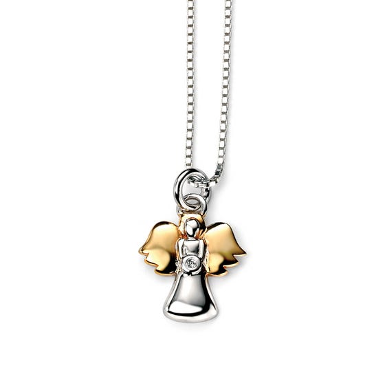 Children's Silver & Gold Plated Diamond Angel Necklace
