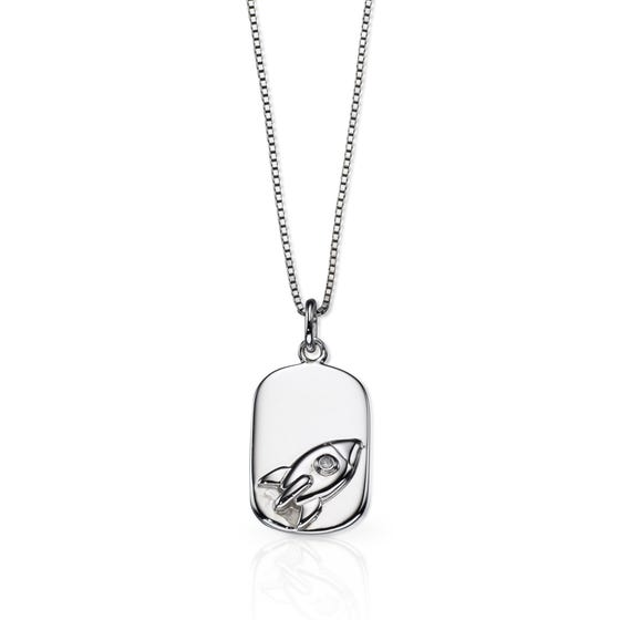 Children's Silver & Diamond Rocket Dogtag Necklace