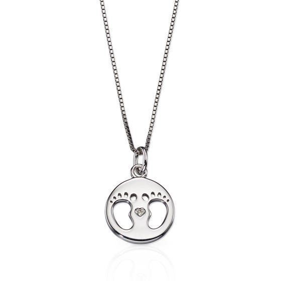 Silver & Diamond Footprint Necklace