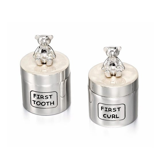 Silver Plated Tooth Box & Curl Box Gift Set