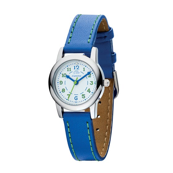 Children's Diamond Green & Blue Leather Watch