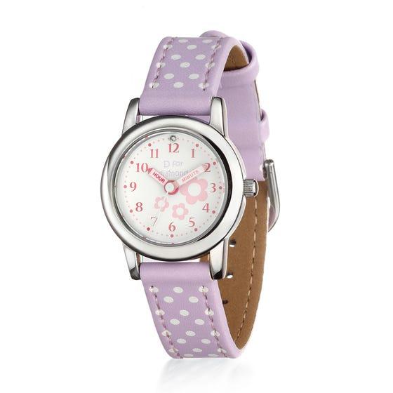 Children's Diamond Flower Lilac Leather Watch