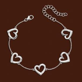 Muse Silver Layered Heart Station Bracelet