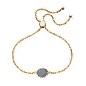 Stones Gold Plated Silver Labradorite Slider Bracelet