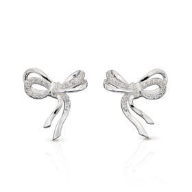 Silver Pave CZ Bow Stud Earrings